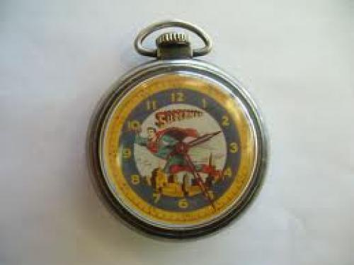Watches; Vintage Rare Working 1950's Ingraham Superman Pocket Watch