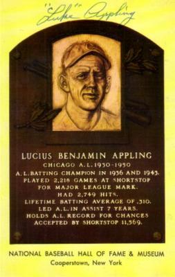 Luke Appling autographed Hall of Fame plaque postcard