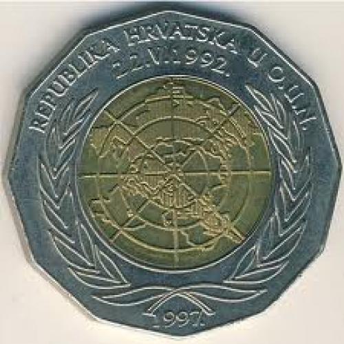 Coins; Croatia, 25 kuna, 1997 Back image