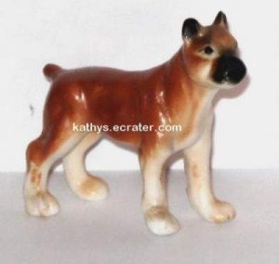 Miniature Bone China Boxer Dog Animal Figurine