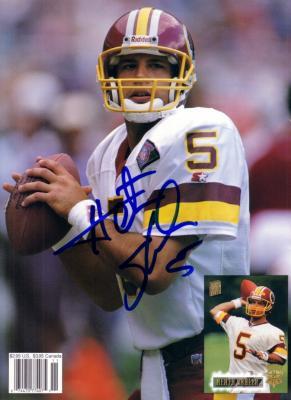 Heath Shuler autographed Washington Redskins Beckett Football back cover photo
