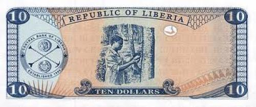 Back of a 10 Dollars Liberian Banknote