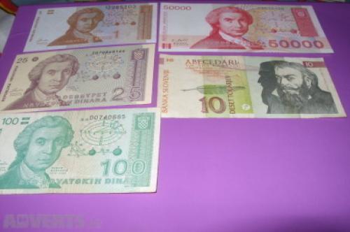 CROATIA-1/25/100/50000 Dinara -1991,Slovenia 10