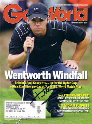 Paul Casey autographed 2007 Golf World magazine
