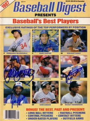 Gary Carter Tim Raines Ryne Sandberg Mike Schmidt autographed 1987 Baseball Digest magazine
