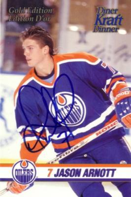 Jason Arnott autographed Edmonton Oilers 1993 Kraft jumbo card