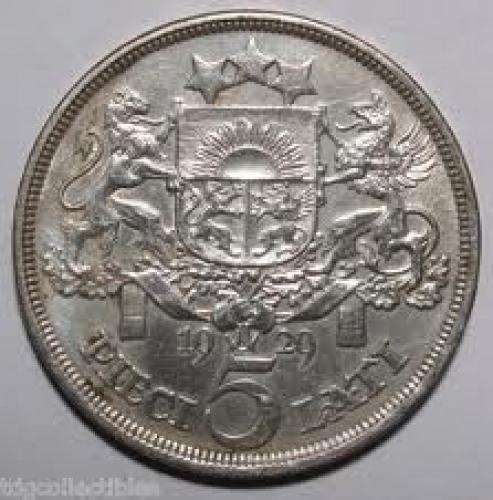Coins; 1929 5 Lati Latvia Coin