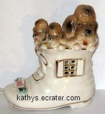 Light: Japan Brown/Red Poodle and Pups in a Shoe Night light Lamp