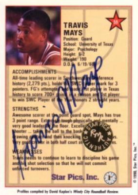 Travis Mays certified autograph Texas Longhorns 1990 Star Pics card