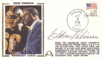 Eddie Robinson autographed Grambling 1985 Winningest Coach Gateway cachet
