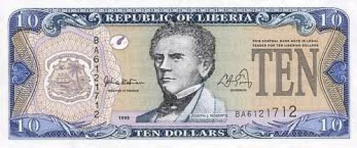 Front of a 10 Dollar Liberian Banknote