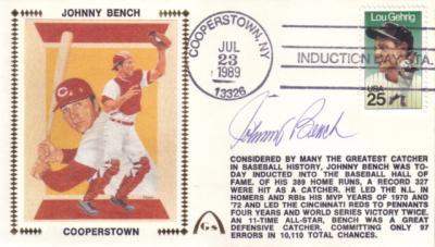 Johnny Bench autographed Cincinnati Reds 1989 Hall of Fame cachet envelope