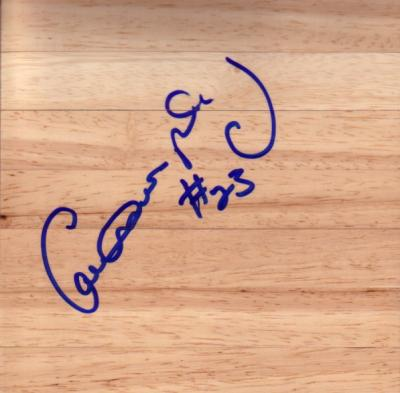 Calvin Murphy (Houston Rockets) autographed basketball hardwood floor