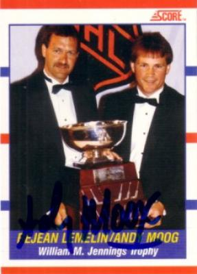 Andy Moog autographed Jennings Trophy 1990-91 Score card