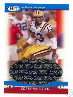 Corey Webster certified autograph LSU 2005 Sage HIT card