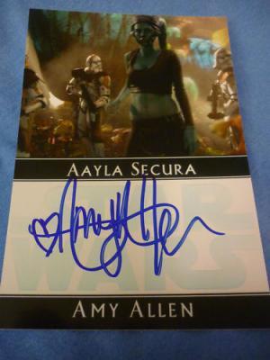 Amy Allen autographed Star Wars Aayla Secura 4x6 photo