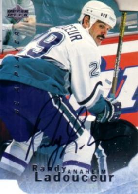 Randy Ladouceur certified autograph Anaheim Ducks 1996 Be A Player card