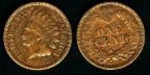 1 cent; Year: 1864-1909; Small Cent. Indian Head Oak Wreath bronze