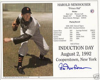 Hal Newhouser autographed Detroit Tigers 8x10 Hall of Fame photo card