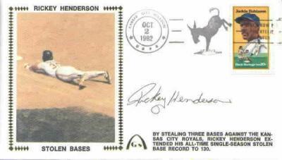 Rickey Henderson autographed Oakland A's Stolen Base Record cachet