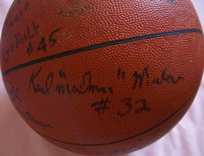 Karl Malone 1984-85 Louisiana Tech team autographed game used basketball