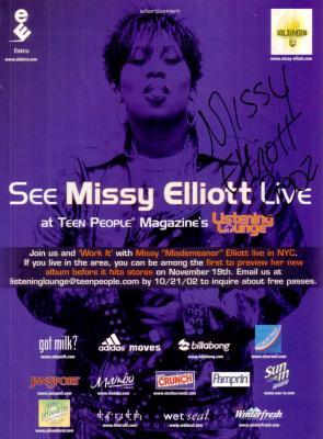Missy Elliott autographed full page magazine ad