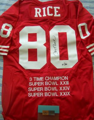 Jerry Rice autographed San Francisco 49ers 3 Time Super Bowl Champion UDA jersey #21/80