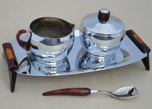 Glo-Hill Canada Chrome & Bakelite Creamer Sugar Tray Spoon Set Vtg