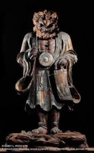 A remarkable Japanese wood sculpture of Oni Nembutsu, Edo period