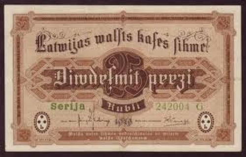 Banknotes; 25 Rubli - 1919 issue - Paper Money from Latvia