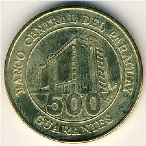 Coins; Paraguay, 500 guaranies, 1997–2005