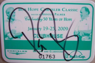 Pat Perez autographed 2009 Bob Hope Chrysler Classic badge