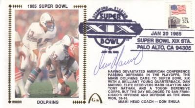 Dan Marino autographed Miami Dolphins Super Bowl 19 cachet envelope