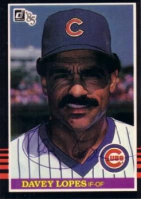 Davey Lopes autographed Chicago Cubs 1985 Donruss card
