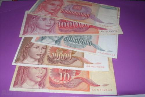Yugoslavia 10/10000/50000000/1000000000/100000 Dinara