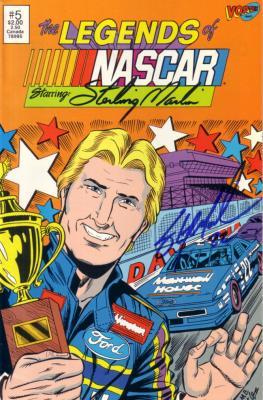Sterling Marlin autographed Legends of NASCAR comic book