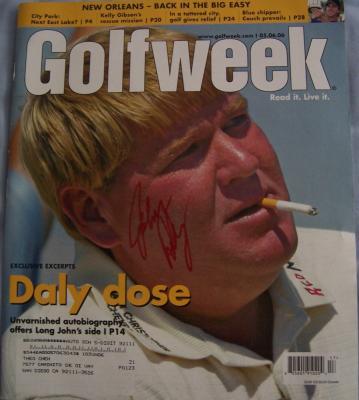 John Daly autographed Golfweek magazine