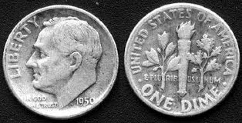 Coins; USA coins; 1950-Roosevelt-10 cents