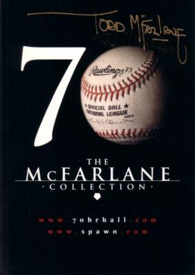 Todd McFarlane autographed Mark McGwire 70 HR baseball 5x7 promo card