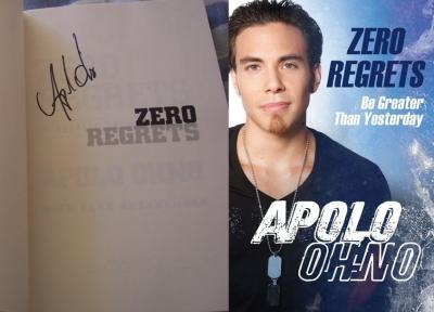 Apolo Anton Ohno autographed Zero Regrets hardcover book