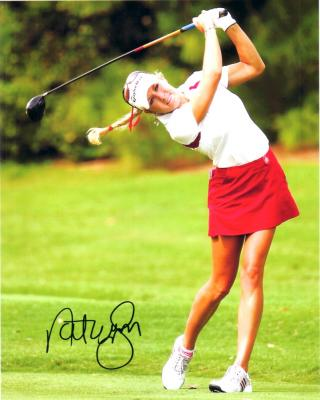 Natalie Gulbis autographed 8x10 LPGA flying ponytail photo