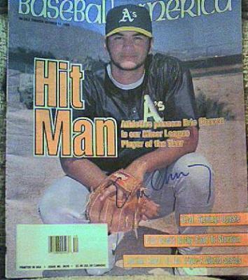 Eric Chavez autographed Oakland A's Baseball America magazine