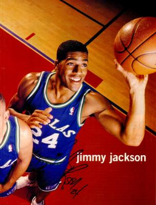 Jim Jackson autographed Dallas Mavericks magazine photo