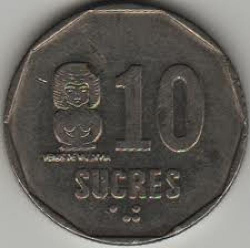 Coins; Ecuador 10 Sucre 1988