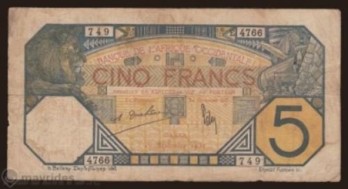 French West Africa 5 Francs, 1932