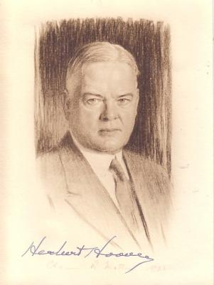 Herbert Hoover autographed 5x7 photo with 1938 letter from secretary