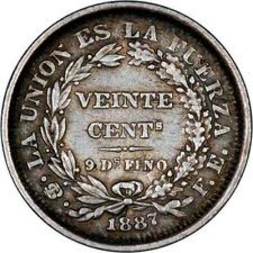 Coins; 1887 bolivia 20cents silver reverse