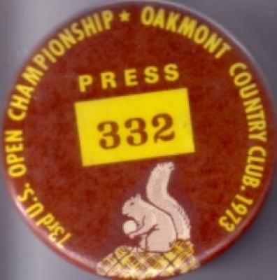 1973 U.S. Open (Oakmont) press button or pin (Johnny Miller)