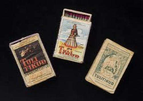 Matchboxes with traditional designs.