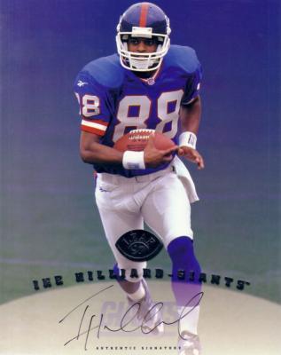 Ike Hilliard certified autograph Giants 1997 Leaf 8x10 photo card